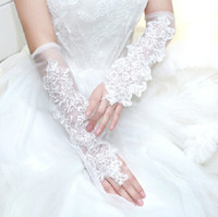 Below Elbow Length girl white gloves - 2014 Fashion White Girl Wedding Dress Finger Gloves Child Flower Gown Ball Glove Kid Butterfly Floral Beaded Mittens Performance