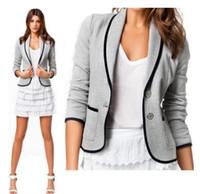 Wholesale 2014 New Blazer Women Fashion Women s Spring Autumn Slim Short Design Turn down Collar Blazer Grey Short Coat Jackets for women