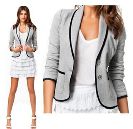 Wholesale 2014 New Blazer Women Fashion Women s Spring Autumn Slim Short Design Turn down Collar Blazer Grey Short Coat Jackets for women