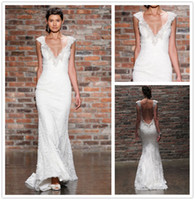 Wholesale 2015 Sheer Lace V Neck Handmade Beads Crystal Backless Cap Sleeve Mermaid Ivory Summer Beach Out Door Lace Wedding Dresses Grace Sweep Train