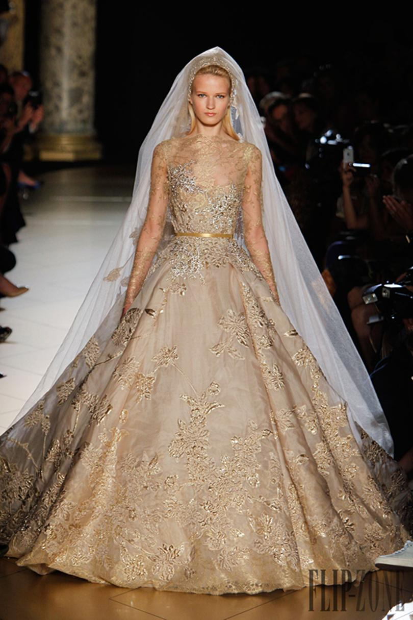 Elie Saab Gold Lace Beads Wedding Dresses With Long Sleeves ...