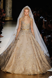 Wholesale Elie Saab Applique Beads Sequins Ball Gown Lace Wedding Dress Sheer Bateau Neck Long Sleeves Chapel Train Bridal Gown