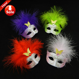 Wholesale Cute Wedding Favors Lovely Mini Feather Mask Halloween Decoration Venetian Masquerade Party Kid Gift Wedding Favors mix color
