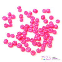 Bead Caps Round Shape Glass 8 0 Glass Seed Beads Jewelry Making Round Fluorescent Fuchsia 3mm x 2mm,Hole:1mm,150 Grams(9375PCs Bag) (B33664)