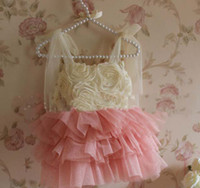 Sweet Girls Dresses Flower Lace Tutu Tulle Suspender Dress D...