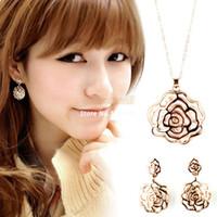 beaded ear rings - New Arrival jewelry necklece pendant neckleces Rose Shape Crystal Rhinestone Pendant Long Chain neckleces Ear Ring B16