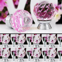 Ceramic  New TK0739# Cheap 8Pcs Lot 30mm Glass Crystal Cabinet Knob Drawer Pull Handle Kitchen Door Wardrobe Hardware Clear Pink Wholesale #6 TK0739