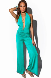 Wholesale Women Fashion Jumpsuits Chiffon Color Green Black Deep V Neck Backless Halter Wide Leg Party Jumpsuit