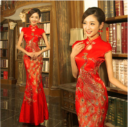 Wholesale Real Classical Red Chinese Dresses Embroidery Cheongsam Dragon Phoenix Image Mermaid Wedding Dress Woman Party Long Prom Evening Dresses