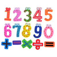 Wholesale 100Pcs pieces set sets Creative Items Numbers Wooden Fridge Magnet Sticker Refrige CWM0080