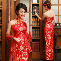 Wholesale Luxury Women Lace Silk Slim Chinese Dresses Long Cheongsam Dress Improved Red Halter Neckline Backless Bridal Wedding Dresses Mermaid Style