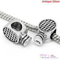Wholesale European Charm Beads Racket Antique Silver x9mm Hole Approx mm K00788