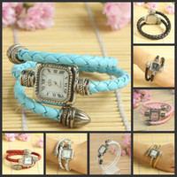 Wholesale 7 Color Bangle Bracelet Vintage Wrist Watch fashion Braided Leather Cord lady women s watches H8601