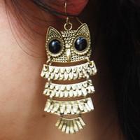 Wholesale fashion vision Retro Bronze Owl Earrings Black Eyes Owl Drop Earring Night Owl Earring model no MP