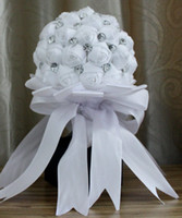 Wholesale 2015 Collection Wedding Bouquet Bridal Holders High Quality Acrylic Crystals Satin Fabric Handmade Holding Flowers for Bride Fast Shipping