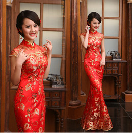 Wholesale Charming Sequin Lace Slim Chinese Dresses Mermaid Cheongsam Dress Chic High Collar Bridal Wedding Dresses Cap Sleeve Evening Dresses