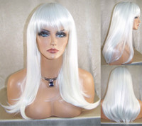 White Straight  Long Length Straight Heat Resistant Cosplay Wig Synthetic Wigs with Bangs & Layers in White Color Party Wigs