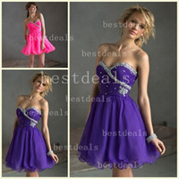 2014 New Sweetheart crystal beads Organza cocktail dresses S...
