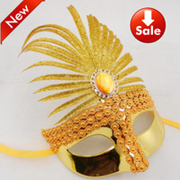 Bauta Mask masquerade decorations - Gold Plated Diamond Party Mask Venetian Masquerade Decoration Halloween Costume Cosplay Mardi Gras Prop Wedding Gift Mix Color