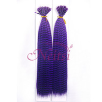 Wholesale Neitsi inch g pc Purple Straight Synthetic Grizzly Rooster Hair Feathers Extensions I Tip Hair Highlight Extensions