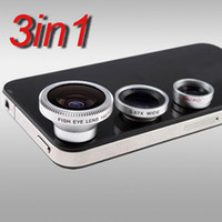 Universal   Universal 3in1 Fisheye Lens + Wide Angle + Micro Lens photo Kit Set for iPhone 4 4s 5 5s 5c, for all mobile phones Camera