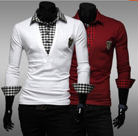Men Long Sleeve Modal 2014 autumn and winter fashion embroidery stitching B64 men's long-sleeved shirt New Slim Polos shirt