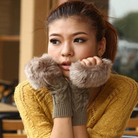 Wholesale Autumn and Winter Imitation Rabbit fur Women Wool Gloves Half finger Gloves Knitted Mittens Lengthen ST318