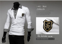 Men Long Sleeve 100% Cotton 2014 autumn and winter Tees & Polos fashion embroidery stitching men's long-sleeved shirt New Slim Polos