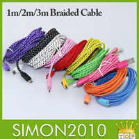 Universal   3m 2m 1m Fabric Braided Nylon Data Sync USB Cable Cord Charger Charging Coloful samsung s4 s5 blackberry z10 HTC Nokia and many other phone