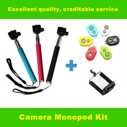 Acheter en ligne Contrôleur bluetooth pour monopode-2,014 New poche extensible Self portrait Manfrotto selfie bâton Photo Caméra déclencheur à distance Bluetooth Controller pour iPhone Samsung DHL