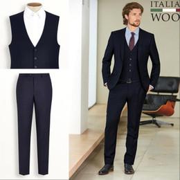 Wholesale 2014 Wedding Suit for Men Groom Tuxedos Notch Lapel Signature Navy Textured Slim Fit Suit Jacket Pants Tie Bow Tie Vest MT6309