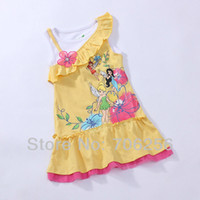 Wholesale MN Tinkerbell Faery TINK girl girls sleeveless summer yellow dress dresses