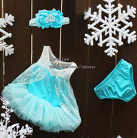 Wholesale Frozen Children Set Kids Suit Outfits Infant Clothing Baby Headbands Summer Lace Dresses Girls Briefs Child Suit Kids Sets Toddler Clothes