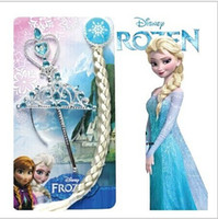 Wholesale 8 off sale Birthday party decorations to dress up Princess Hair accessories Crown wig magic wand FROZEN ANNA ELSA HG