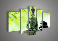 Abstract irregular abstract 5 Panel Wall Art Religion Buddha Green Oil Painting On Canvas Decorative Mural Picture Custom Frame For Home Modern Decoration