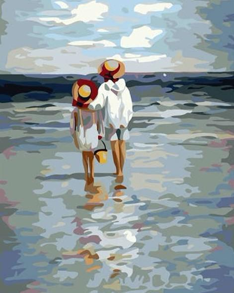 2017 hand painted oil paintings children walking on the beach from leedh dhgate com - Resource com verven ...