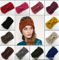 Wholesale Europe fashion women s crochet Wool headband knit hair band teenager girl s knitted wide Headbands Winter Ear Warmer Hair Accessories