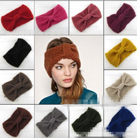 Wholesale Europe fashion women s crochet Wool headband knit hair band teenager girl s knitted wide Headbands Winter Ear Warmer Hair Accessories