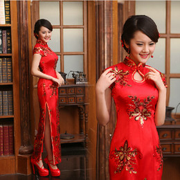 Wholesale Chinese Dresses Wedding Mermaid Cheongsam Wedding Toast Party Dress High Collar Mermaid Cheongsam Sequin Lace Satin Long