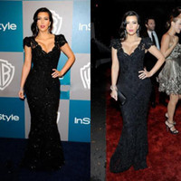 Reference Images V-Neck Lace Good Design New Fashion Kim Kardashian Sexiest Black Lace Celebrity Dress