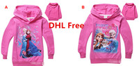 Girl Spring / Autumn Hooded DHL Fast Ship Fashion Cartoon Princesss Elsa Anna Kids Hooded Sweatshirts Cotton Long Sleeve Girls Hoodies Top Tee Children Casual Clothing