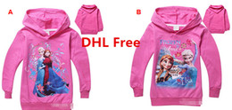 Wholesale DHL Fast Ship Fashion Cartoon Princesss Elsa Anna Kids Hooded Sweatshirts Cotton Long Sleeve Girls Hoodies Top Tee Children Casual Clothing