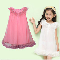 In stock Summer Girls Frozen Baby Chiffon Gauze Summer Dress...