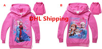Wholesale DHL Free Ship Top Fashion Cartoon Frozen Elsa Anna Kids Hooded Sweatshirts Cotton Long Sleeve Girls Hoodies Top Tee Children Casual Clothing