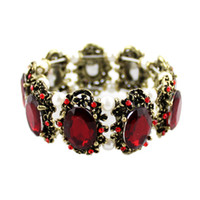 Wholesale Red Green Big Shiny Rhinestone Alloy Elastic Charm Bracelets Bangles For Women New Joyas