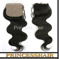 Brazilian Hair Body Wave 4x4 Silk Base Closure 8inch~18inch Silk Base Closure Unprocessed Brazilian Virgin Remy Hair Body Wave 180% Density 4x4 Closure DHL Free Shipping