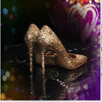 Wholesale 2014 latest golden Shiny Dress Shoes sequins sFine with female single crystal shoes sexy pointed high heeled shoes Women s shoes