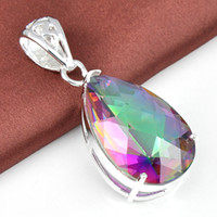 925 silver popular mystic topaz crystal pendant for girl 2pc...