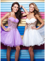 Reference Images Sweetheart Tulle New Elegant Charming Sexy Sweetheart Sleeveless White Purple Beading Beaded 2014 Short Prom Dresses Party Cocktail Evening Gown