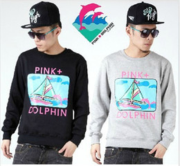 Wholesale Winter Men Hip Hop Pink dolphin Dolphin Sailing South Coast Tide Men cotton round neck pullover sweater